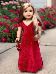 Sewing Ladies Clothes Lady in Red 18 inch doll gown necklace purse and red Ag Doll Clothes, Doll Clothes Patterns, Clothing Patterns, Ladies Clothes, Sewing Clothes, Holiday Dresses, Special Occasion Dresses, American Girl Clothes, American Girls