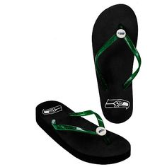 Women's Seattle Seahawks Wedge Flip Flops - NFLShop.com