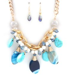 Aria Necklace in Blue Agate on Emma Stine Limited