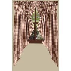 Prairie Curtain 63 inch Gathered Swag Barn Red Cream Check Raghu #Raghu #Country