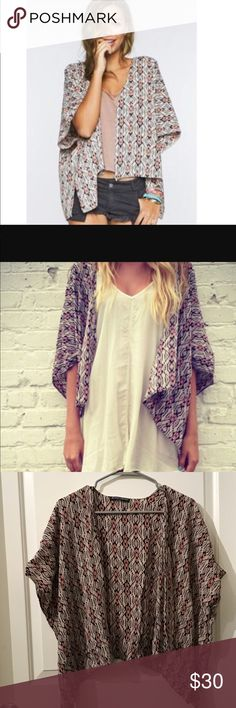 Worn once! Brandy Melville Aztec Tribal Kimono One size fits all. Only worn one time so great condition. Super cute and lightweight. Adorable print! Brandy Melville Tops