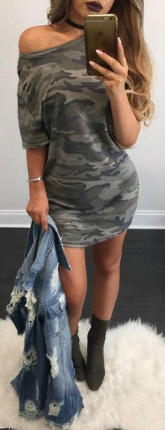 Camouflage Print One Shoulder Casual Dress