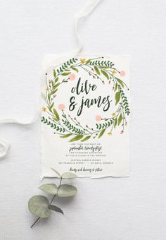 Rustic Bohemian Wedding Invitation Suite // Watercolor Wreath and Modern Calligraphy? The makings of a pretty sweet set if you ask me.