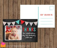 Turquoise and Red Thank You Card  Chalkboard  by InvitationCeleb