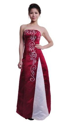 Moonar Satin Strapless Straight Across Floor Length Prom Formal Gown Party Bridesmaid Wedding Dress Red Size 16 Moonar, http://www.amazon.co.uk/dp/B0090BE1EG/ref=cm_sw_r_pi_dp_up8qrb09PA4BN