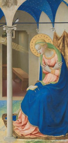 Fra Angelico (1395-1455), 1425-8, The Annunciation, Detail: Mary under a portico, Tempera on panel.