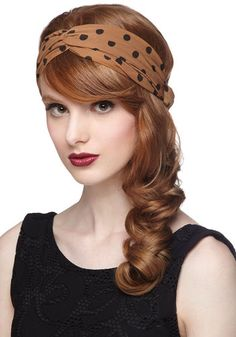 Dots to Love Headband in Cinnamon, #ModCloth i think i could pull this off with no hair maybe! i have shorts that match!