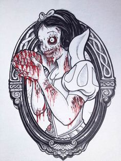 """""""Disney Zombie Princesses"""", a mini-series of four illustrations of Disney princesses as Living Dead, created by Kendel Marce."""