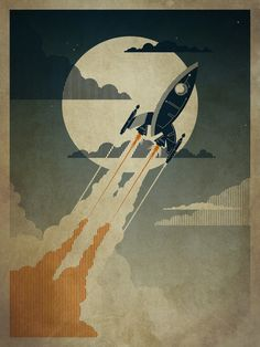 Do you know anyone who likes rockets? I know one or two... 'Night Launch' Art Print by Danny Haas