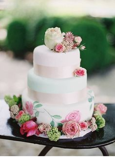 wedding cakes Wedding Inspiration - Style Me Pretty Aqua Wedding Cakes, Naked Wedding Cake, Wedding Cake Designs, Pretty Cakes, Beautiful Cakes, Amazing Cakes, Naked Cakes, Watercolor Cake, Garden Wedding Inspiration