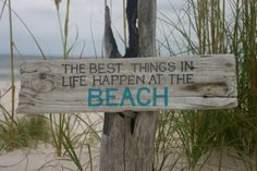 Weathered driftwood Beach sign by ClaudiaHodgesDesign on Etsy, $25.00