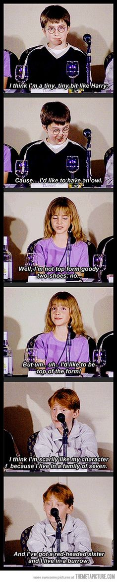 "Harry Potter cast on characters  "" I've got a red headed sister and.. I live in a burrow"" <3"