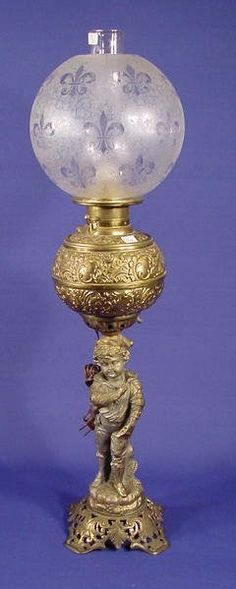 193: Cast Iron and Spelter Figural Banquet Lamp NR : Lot 193