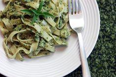 Handmade gluten-free fettucine pasta with basil-walnut pesto (gluten-free, dairy-free)