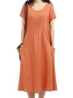 Fashion Women Short Sleeve O Neck Pocket Linen Loose Dress - NewChic