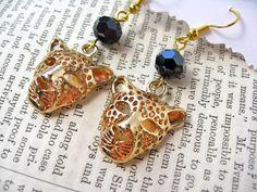 Gold Leopard Head Charm Earrings by VespertineCosmos £12.50