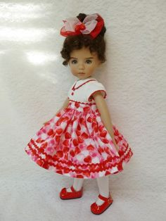 """Happy Valentine's Day Outfit  for 13"""" Little Darling Effner Doll by Apple"""