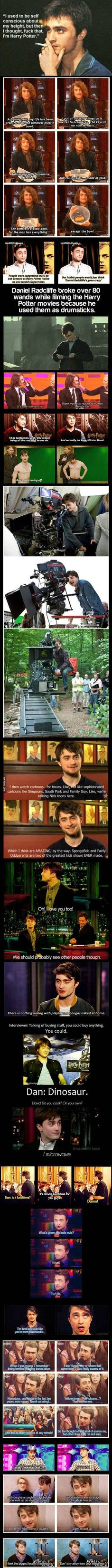 """Lmao - repinning for the joke. You'll know what I mean ehen you get to it!!! Lol - """"Daniel Radcliffe is like the male version of Jennifer Lawrence."""""""