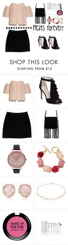 """Love pleats"" by jennifer-allison-bulnes-apolo ❤ liked on Polyvore featuring Louise et Cie, Loeffler Randall, Olivia Burton, Oscar de la Renta, Monica Vinader, Diane Kordas, MAKE UP FOR EVER and Bourjois"