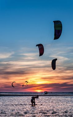 Kite surfing at Schiermonnikoog, a small barrier island just north of the Netherlands.