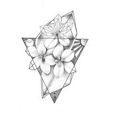 Geometric Flower Dotwork Tattoo Design