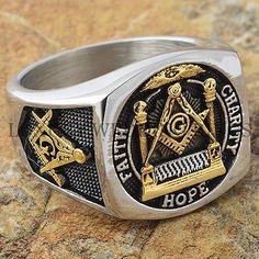 Men Masonic Ring Square G & Pillars Freemason Master Mason Gold Tone Size 9-13