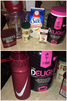Fitmiss Protein Powder from GNC. This stuff is so good! In the picture is chocolate delight. I made a snickers protein shake and a peanut butter chocolate chip absolutely delicious!