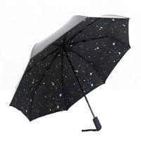 Uvistar Compacte Parapluie Pilable Parapluie Résistant au Vent Automatique avec Image d'étoile Filante Décoratif (Noir)