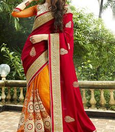 bf085ebf528 Buy Orange and Red embroidered Silk saree with blouse party-wear-saree  online Wedding