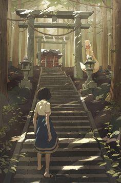 "k141: "" The illustration without text, for upcoming indie platformer, Miyamori """
