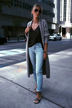 spring outfit, summer outfit, casual outfit, beach outfit, summer vacation outfit, comfy outfit, street style - grey long cardigan, black cami top, light denim boyfriend jeans, black sandals, aviator sunglasses