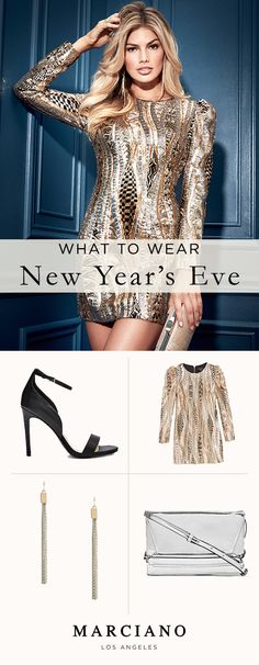 The Lise Embellished Dress from the Marciano Holiday '17 collection is the perfect amount of sparkle for New Year's Eve.