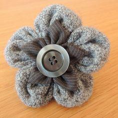 Beautiful Fabric Flower Brooch Greys by BN1BrightonMum on Etsy, £7.00