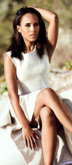 Kerry Washington strikes a pose in her neutrals for The Edit.