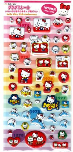 Sanrio Japan Hello Kitty 35th Anniversary 1970's Puffy Sticker Sheet by Sun-Star 2009 Kawaii