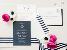 A whimsical and fun Kate Spade wedding with a preppy pink and blush palette, striped details, champagne sequins, and a marquee sign in black tie style! Modern Wedding Invitations, Wedding Stationery, Round Wedding Tables, Pink Centerpieces, Wedding Planning Inspiration, Wedding Ideas, Parisian Wedding, Card Box Wedding, Wedding Suite
