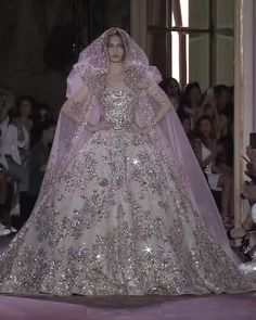 Zuhair Murad Stunning and Uniq Wedding Gown - Stunning and Uniq Silver Embroidered Ivory Strapless A-Lane Princess Wedding Dress / Bridal Ball Gown with a Cape and a Train. Runway Show by Zuhair Murad Source by karlaholz - Luxury Wedding Dress, Dream Wedding Dresses, Designer Wedding Dresses, Bridal Dresses, Silver Wedding Gowns, Queen Wedding Dress, Couture Wedding Gowns, Wedding Bride, Zuhair Murad Bridal
