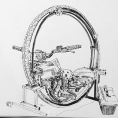 Just finished up an #inksketch from my visit to Prescott the other weekend. One of my favorite oddball machines currently running @lord_atom_anable s monowheel. Check out his feed its chock full of his mono creations! by mrtnsquires