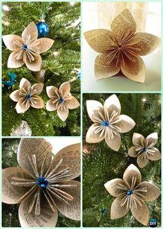 DIY Glitter Paper Flower Ornament Instruction- DIY Paper Christmas Tree Ornament Craft Ideas