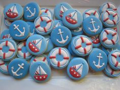 Items similar to Sailor cupcake cookie topper (two dozen) on Etsy Baby Boy Cookies, Mini Cookies, Cute Cookies, Easter Cookies, Birthday Cookies, Cupcake Cookies, Sugar Cookies, Nautical Theme Cupcakes, Nautical Cake