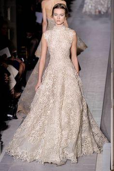 Valentino Collezione Primavera State 2013. Modest cap sleeve lace ballgown in cream.