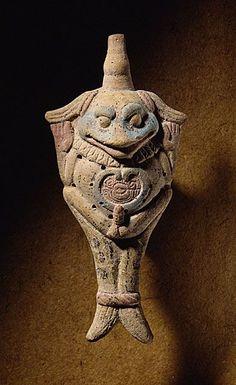 Ocarina. Veracruz, Mexico, 700-900 CE. Terracotta, with traces of pigment. LACMA.