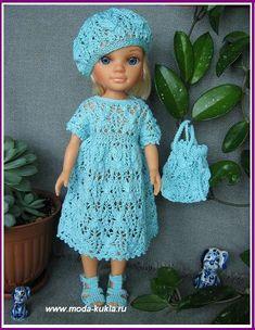 """Вяжем для кукол БЕБИ БОН и НЭНСИ  - """"Карамель""""  - красивый ажурный узор!     Платье, беретик, сандалики и ридикюльчик!"""