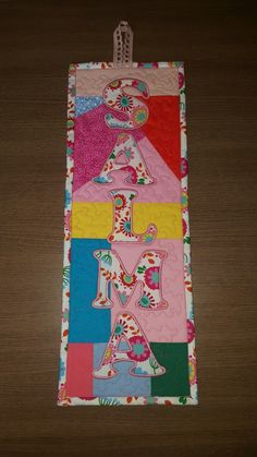 Personalised door hanging for a girl, patchwork