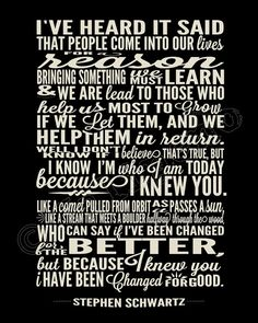 "I Have Been Changed ""For Good"" Song Lyrics - INSTANT DOWNLOAD Printable Wicked the Broadway Musical Show Play Quote Memorabilia Wall Art Home Office Decor by Jalipeno on Etsy. It's the perfect gift for a teacher, professor, dance teacher, coach, bridesmaid, co-worker, boss, assistant, friend, musical theater fan, etc. and for so many occasions - as a memento from the show, parting gift, retirement, thank you, moving / going away, farewell, graduation, etc. Check my shop for more Wicked…"