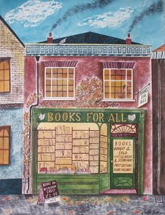 Books For All.  One of a series of High Street paintings by Emily Sutton.