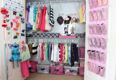 Kids closet organization ideas great space saver! Bow holder for headbands and hair bows with hooks for belts, hats, scarfs, coat and backpack. Shoe organizer hanging from the door and tubs along the bottom and side for miscellaneous storage space, maybe use them for shirts, shorts, socks and underwear if there is not dresser.