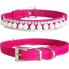 """WwWSuppliers Adjustable Velvet PU Suede Leather Bling Diamonds and Pearls Fashion Collar for Dogs, Puppies, Cats or Kittens (SMALL 7 1/2""""- 10 1/2"""") (Hot Pink) WwWSuppliers http://www.amazon.com/dp/B00JBN0LL0/ref=cm_sw_r_pi_dp_lYMYvb05MRR33"""