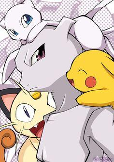 Mewtwo , Pikachu , Miaouss et Mew dans Pokemon Film 16 ×_× J'en ai pleuré xD !