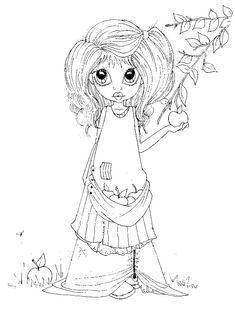 Saturated Canary Girl Coloring Page Coloring Pages For Girls, Colouring Pics, Coloring Book Pages, Printable Coloring Pages, Coloring For Kids, Creation Art, Copics, Digital Stamps, Big Eyes